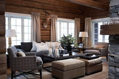 89 Excellent and Cozy Cabin Style Decoration Ideas - Homearchitectur Cabin Chic, Cozy Cabin, Cozy House, Chalet Chic, Living Room White, White Rooms, Home And Living, Cozy Living, Living Rooms