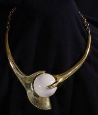 Vintage  LANVIN PARIS SPACE Age White Lucite  Necklace
