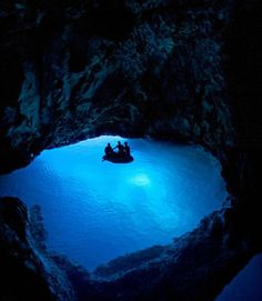The Blue Grotto, Capri Italy. One of the most amazing thing I've seen.. The sunlight shines in a cave with a small opening, reflects off the white sand then up thru the water.