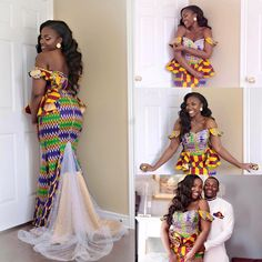 It's a blessing to be loved ✨💞👑 Congrats Jessica and Henoc Ghana Dresses, Kente Dress, African Lace Dresses, Latest African Fashion Dresses, African Dresses For Women, African Print Fashion, Africa Fashion, African Wedding Attire, African Attire