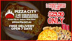 Craving for Pizza? Welcome to Pizza City, where great tasting Pizza awaits you everyday here at the heart of Sydney, Australia. Pizza City, Good Pizza, Garlic Bread, Cravings, Places, Lugares