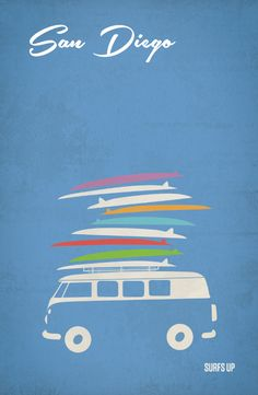 San Diego Travel Posters by Melissa Glaze, via Behance. Nice use of the negative space