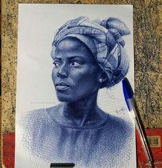 Portraits Drawn Using Blue Ballpoint Pens By Enam Bosokah! Caricatures, Biro Portrait, Africa Art, Africa Painting, Pen Illustration, Illustrations, Ballpoint Pen Drawing, Ap Studio Art, Free Hand Drawing