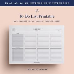 To Do List Printable Task List Printable Checklist | Etsy To Do Lists Printable, Printable Planner, Printables, To Do Checklist, Desk Stationery, Wall Planner, Weekly Meal Planner, Business Planner, Planner Inserts