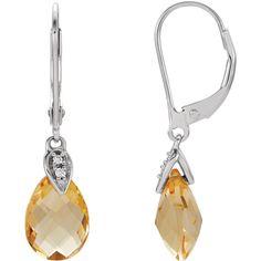 Stuller 14kt White Gold with Citrine & .025 ctw Diamond Earrings Style: 651452:101:P