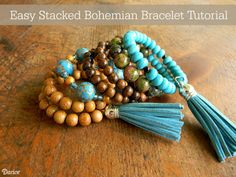 This stacked DIY bohemian bracelet looks high end, but could not be easier. These bracelets use memory wire and some amazing beads from Darice!