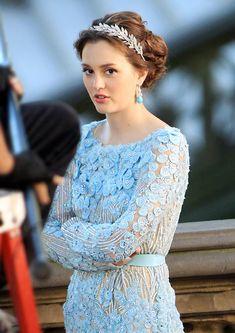 Leighton Meester as Blair Waldorf in Gossip Girl - Light blue Elie Saab dress