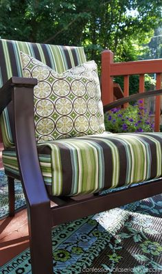 Update your Outdoor Cushion Covers with this SEW SUPER EASY cushion cover tutorial from Confessions of a Serial Do-it-Yourselfer Decor, Furniture, Cushions, Patio Furniture Cushions, Diy Patio, Outdoor Cushion Covers, Outdoor Furniture, Home Decor, Furniture Covers