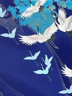 Cranes in Japanese kimono fabric Japanese Textiles, Japanese Patterns, Japanese Fabric, Japanese Prints, Japanese Design, Japanese Kimono, Japanese Crane, Kimono Japan, Kimono Fabric