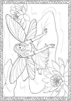 Dover Creative Haven Enchanted Fairies Coloring Page 2