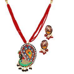 Maayra Stylish Red Meenakari Pendant Set http://goo.gl/Wejsth