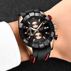 LIGE 2020 Men Watches With Silicone Strap | Shop For Gamers Cold Shower, Casio Watch, Stainless Steel Case, Quartz Watch, Chronograph, Buy Now, Watches For Men, Luxury, Accessories