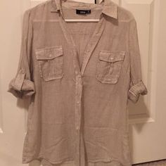 Tan & creme 3/4 sleeve button up blouse Sheer material, breathe-able, worn twice! No holes or stains. Make me an offer :-) a.n.a Tops Button Down Shirts