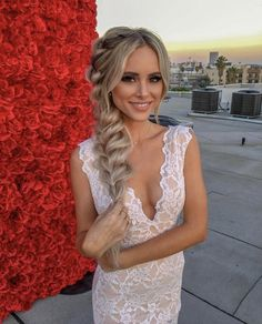 """Amanda Stanton dresses to impress for her """"Now Accepting Roses"""" book promotion. She is styled in a white lace dress by Nightcap. Box Braids Hairstyles, Try On Hairstyles, Formal Hairstyles, Bride Hairstyles, Fishtail Wedding Hair, Bridal Fishtail Braid, Bridal Braids, Amanda Stanton, Celebrity Style Guide"""