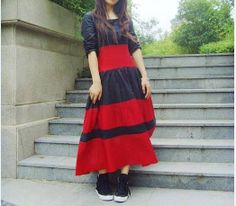 Linen Contrast Color Long Dress Made to order by camelliatune, $88.00