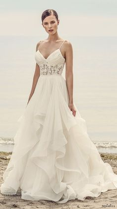 mikaella spring 2017 bridal spagetti strap sweetheart neckline heavily embellished bodice layered skirt romantic a  line wedding dress open low back sweep train (2101) mv