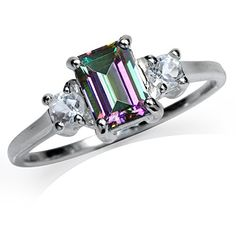 1.26ct. Mystic Fire Topaz 925 Sterling Silver Engagement Ring Size 7 ^^ Awesome jewelry. Click the image : Engagement Ring
