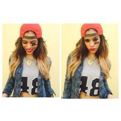 We love Dinah Jane Hansen of Fifth Harmony's cute loutfit of a plaid shirt over a sporty cropped t-shirt.