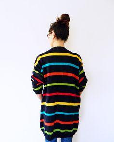 Vintage 80s Oversized Sweater Coat Primary Stripes / Navy Blue Oversized Cardigan / 80s Slouchy Sweater / on Etsy, $48.00