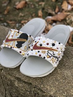 Customize your own sandals with a SprinkleMyFeet birthday party! Bling Shoes, Bling Bling, Fluffy Shoes, Nike Flip Flops, Cute Black Babies, Nike Slides, Custom Shoes, Fur Slides, Shoe Collection