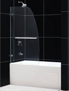 I like the 1/2 sheet of glass for a shower screen. Makes the bathroom seem bigger without a shower curtain.