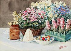 Touching Watercolours by Russian Grand Duchess Olga Romanova, фото № 9 Grand Duchess Olga, Russian Painting, Flower Basket, Halloween, Street Art, Easter, Art Prints, Artist, Flowers
