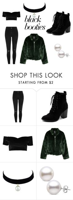 """Untitled #34"" by mckenzieann05 ❤ liked on Polyvore featuring River Island, Ollio, Boohoo, Free People, Winter, pearl, bomberjacket, blackonblack and blackbooties"