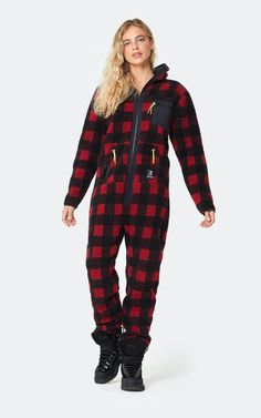 Cute Couple Outfits, Zip Puller, Red Jumpsuit, Basic Tees, Getting Cozy, Off Duty, Female Models, Lounge Wear, Onesies