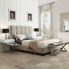TRIBECCA HOME Sarajevo Taupe Velvet Column Queen-sized Upholstered Platform Bed   Overstock™ Shopping - Great Deals on Tribecca Home Beds