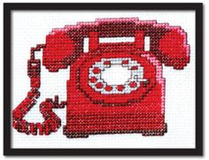 Red Rotary Phone Cross Stitch Pattern Instant Download