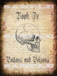 Items similar to Halloween Book Cover of Spells Potion and Poison Skull Wall Art Print on Etsy Halloween Apothecary Labels, Halloween Potion Bottles, Halloween Labels, Halloween Crafts, Halloween Decorations, Halloween Printable, Halloween Designs, Retro Halloween, Holidays Halloween