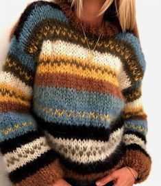 My fall sweater pattern by Siv Kristin Olsen 20 sweater knitting patterns. This is a pattern roundup with a range of designs for all skill levels. This is an easy knit sweater, where you may use the colours that you like. Knitting Terms, Love Knitting, Knitting Sweaters, Fall Knitting, Knitting Tutorials, Hand Knitted Sweaters, Vintage Knitting, Loose Knit Sweaters, Knitting Ideas
