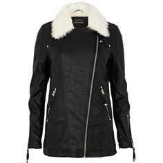 River Island Black shearling lined longline biker jacket (96 CAD) ❤ liked on Polyvore featuring outerwear, jackets, vegan leather jacket, vegan leather moto jacket, vegan moto jacket, zipper jacket and faux leather jacket