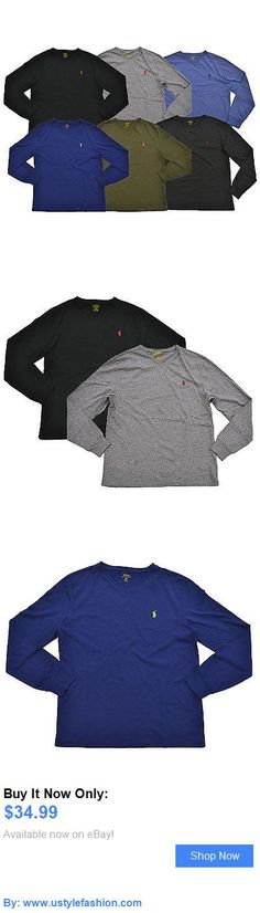 Men clothing: Polo Ralph Lauren V-Neck T-Shirt Mens Long Sleeve Classic Fit Tee Pony Logo Nwt BUY IT NOW ONLY: $34.99 #ustylefashionMenclothing OR #ustylefashion