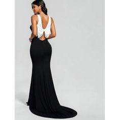 Bowknot Back Bodycon Longline Dovetail Dress - WHITE/BLACK M