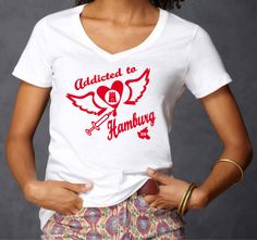 INDIVIDUELLES ADDICTED TO HAMBURG EDLES LADIES SEXY DEEP V-NECK T-SHIRT!