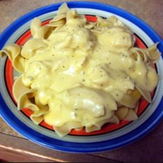 """Crockpot Creamy Cheesy Chicken! """"turned out well, very easy to make. I made it with egg noodles and the kids liked it. make sure you use Pam because it sticks to crock pot"""" @allthecooks #recipe #chicken #crockpot #dinner #cheese #easy"""