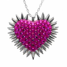 """Xirius"" Spiked & Pavèd Heart Necklace in Fuchsia"