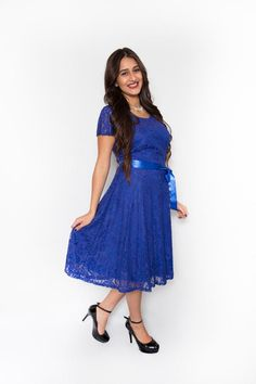 Royal Blue Botanical All Over Lace with Ribbon Belt $49.99
