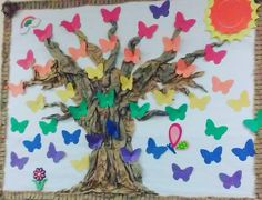 21-#Spring. Our #preschool  #bulletinboard is a big #collage #90daycollage #collageforselfdiscovery