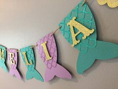 Mermaid Name Banner baby shower first birthday under the