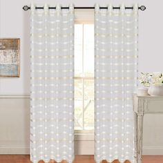 Lavish Home Arla Grommet Curtain Panel, Brown/Yellow