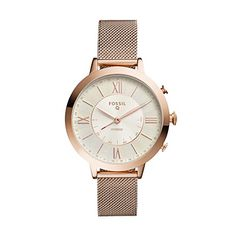 640b49c0f17ea Fossil Q Jacqueline Stainless Steel Mesh Hybrid Smartwatch, Color  Rose Gold-Tone  (Model  - Luxury Beauty Store