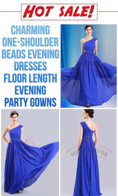 Hot sale Charming One-shoulder Beads Evening Dresses Floor Length Evening  Party Gowns - Thumbnail 4