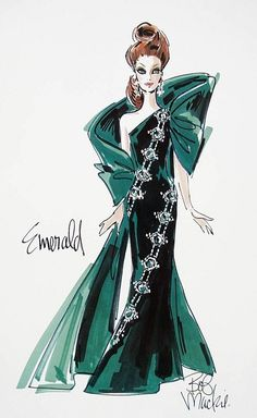Bob Mackie Emerald Embers Barbie Illustration