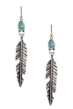 Bezel Set Turquoise Calcite & Feather Dangle Earrings