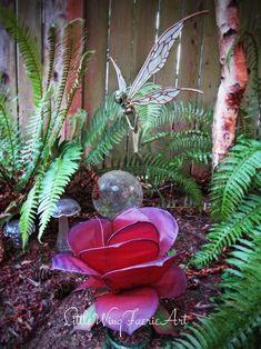 Silk Flower and Faerie Lights — Little Wing Faerie Art Butterfly Lamp, Flower Lamp, Butterflies, Giant Paper Flowers, Silk Flowers, Mason Jar Garden, Polymer Clay Fairy, Purple Plants, Rainbow Roses