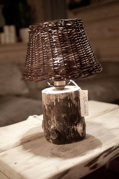 wooden lamp with wicker shade