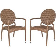Ellis Wicker Indoor/Outdoor Arm Chair in Brown (Set of 2) Joss & Main