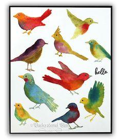 Video - MMH Feb 18 Watercolor Hero Arts Birds | wc: Daniel Smith Watercolors paper: Fabriano Artistico Cold Press | Understand Blue